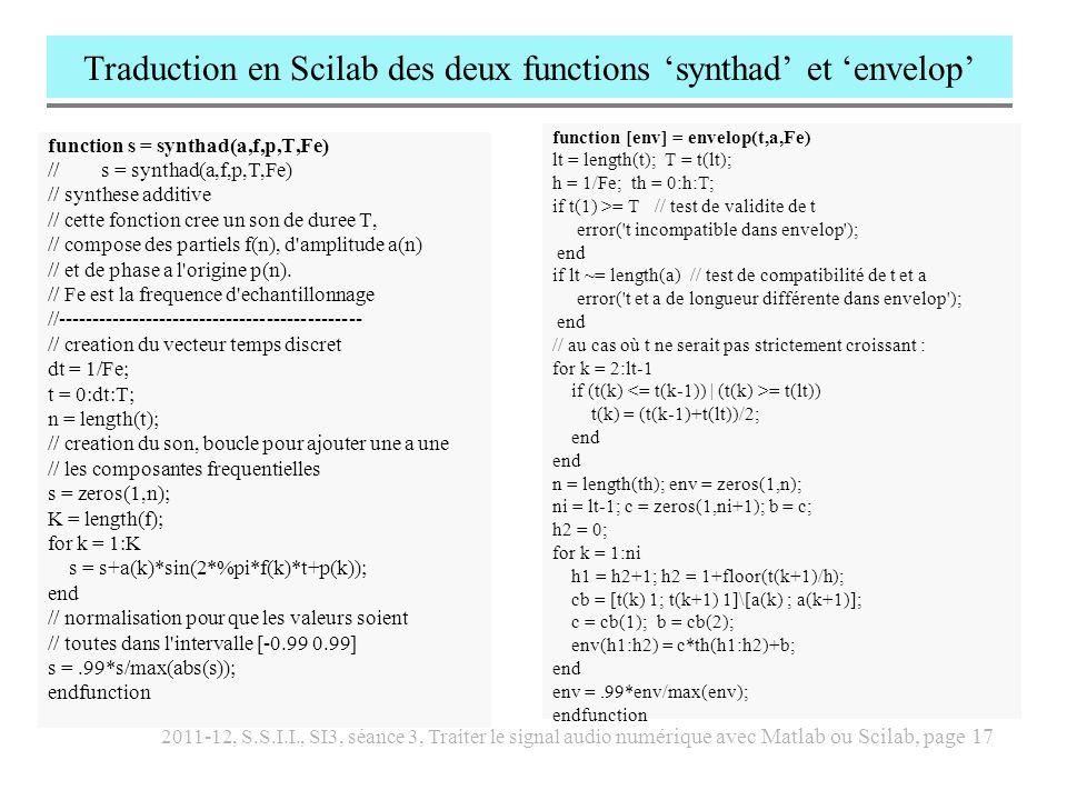 2011-12, S.S.I.I., SI3, séance 3, Traiter le signal audio numérique avec Matlab ou Scilab, page 18 Traduire pour Scilab le script Matlab dans cloche.m function s = cloche(f1,T,Fe) // s = cloche(f1,T,Fe) // imitation d une cloche // f1 = fréquence fondamentale // Fe = fréquence déchantillonnage // T = durée du son //--------------------------------------------- h = 1/Fe; th = 0:h:T; f = f1*[0.5 1 1.188 1.530 2.0000 2.470 2.607 2.650 2.991...
