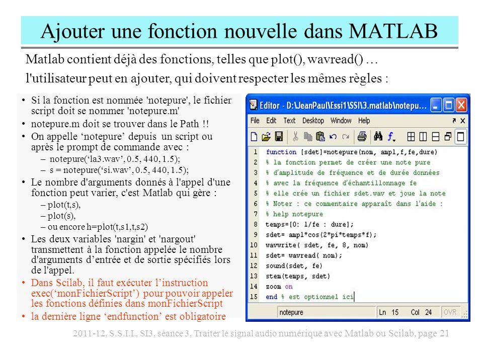 2011-12, S.S.I.I., SI3, séance 3, Traiter le signal audio numérique avec Matlab ou Scilab, page 21 Ajouter une fonction nouvelle dans MATLAB Si la fon