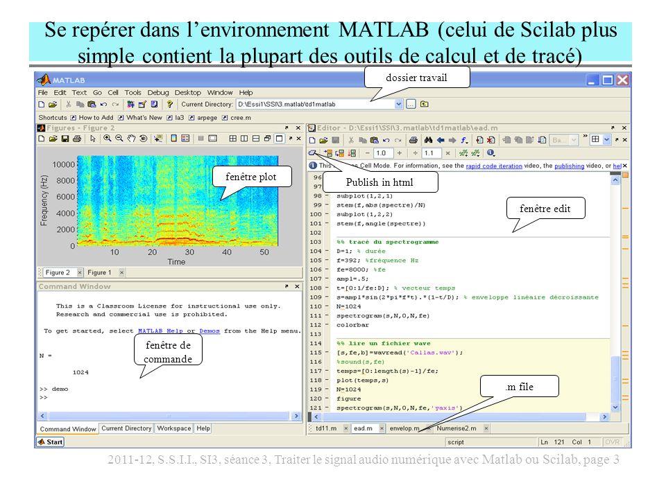 2011-12, S.S.I.I., SI3, séance 3, Traiter le signal audio numérique avec Matlab ou Scilab, page 4 Utiliser la fenêtre de commande de Matlab (traduire en Scilab) >> % en Matlab, le prompt est >> >> N=3 % avec ou sans caractère ; .
