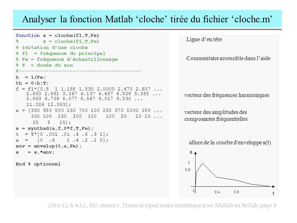 2011-12, S.S.I.I., SI3, séance 3, Traiter le signal audio numérique avec Matlab ou Scilab, page 7 Analyser la fonction synthad tirée du fichier synthad.m function s = synthad(a,f,p,T,Fe) % s = synthad(a,f,p,T,Fe) % synthèse additive % cette fonction crée un son de duree T, % compose des partiels f(n), d amplitude a(n) % et de phase a l origine p(n).