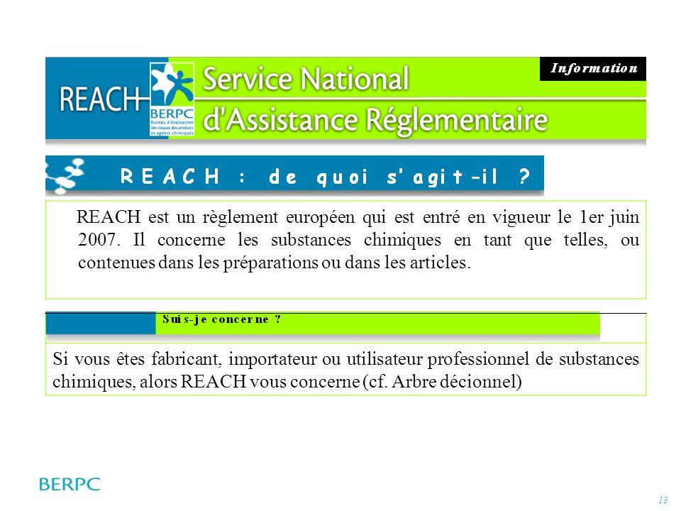 13 REACH est un règlement européen qui est entré en vigueur le 1er juin 2007. Il concerne les substances chimiques en tant que telles, ou contenues da
