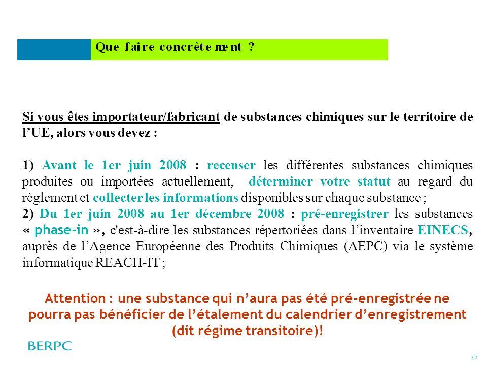 15 Si vous êtes importateur/fabricant de substances chimiques sur le territoire de lUE, alors vous devez : 1) Avant le 1er juin 2008 : recenser les di