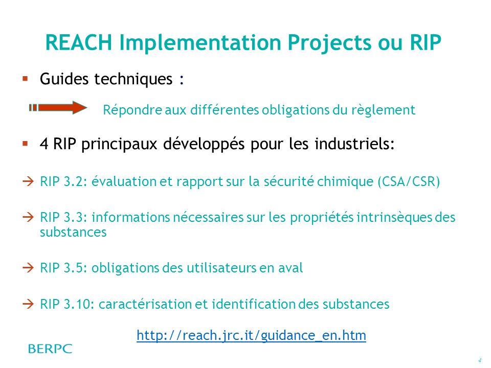 4 REACH Implementation Projects ou RIP Guides techniques : 4 RIP principaux développés pour les industriels: RIP 3.2: évaluation et rapport sur la séc
