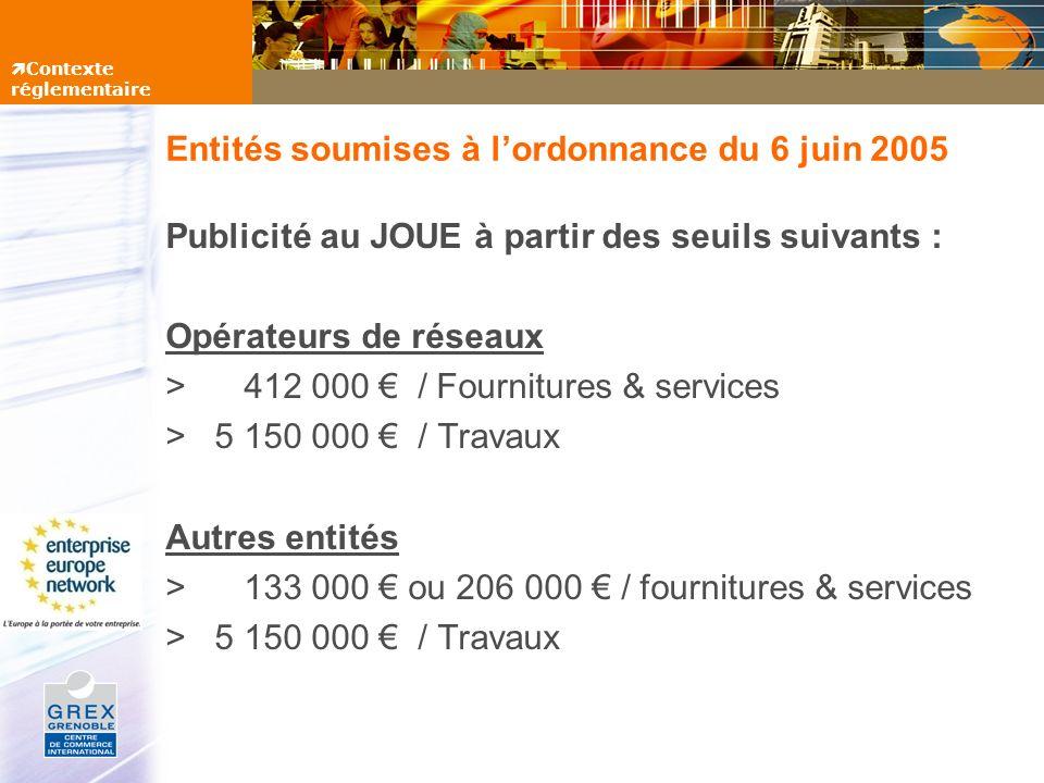 Entités soumises à lordonnance du 6 juin 2005 Publicité au JOUE à partir des seuils suivants : Opérateurs de réseaux > 412 000 / Fournitures & service
