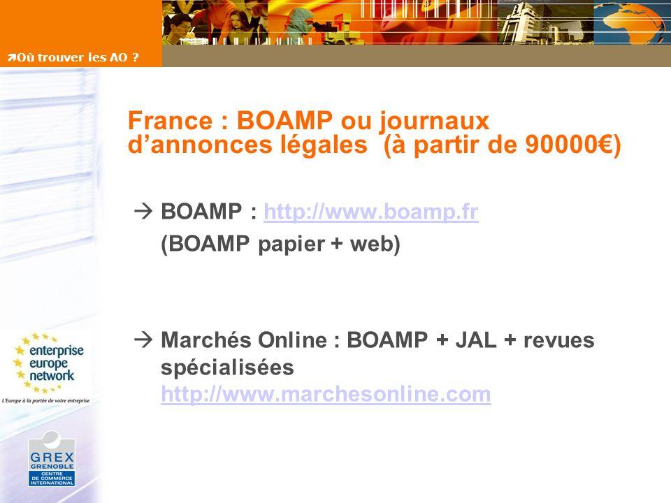 France : BOAMP ou journaux dannonces légales (à partir de 90000) BOAMP : http://www.boamp.frhttp://www.boamp.fr (BOAMP papier + web) Marchés Online :