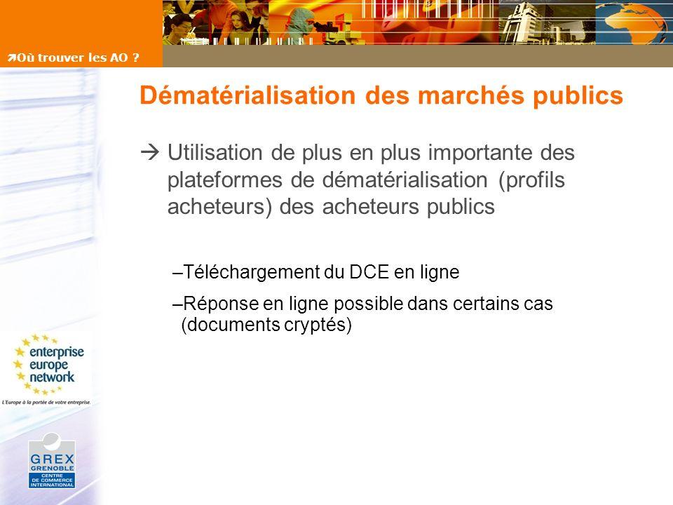 Dématérialisation des marchés publics Utilisation de plus en plus importante des plateformes de dématérialisation (profils acheteurs) des acheteurs pu