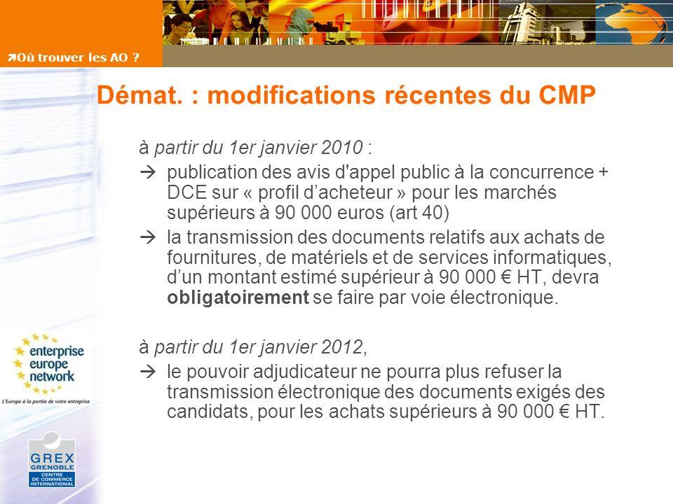 Démat. : modifications récentes du CMP à partir du 1er janvier 2010 : publication des avis d'appel public à la concurrence + DCE sur « profil dacheteu