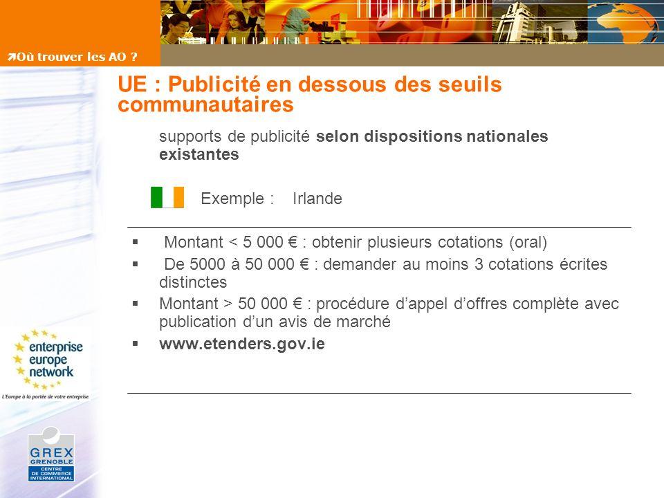 UE : Publicité en dessous des seuils communautaires supports de publicité selon dispositions nationales existantes Exemple : Irlande Montant < 5 000 :
