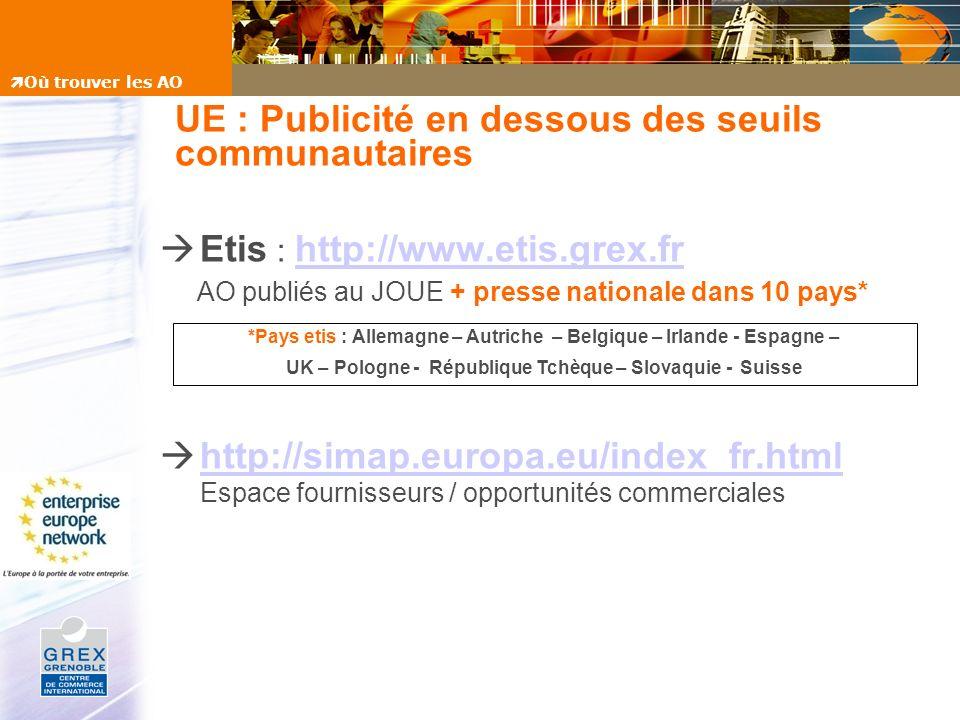 UE : Publicité en dessous des seuils communautaires Etis : http://www.etis.grex.fr http://www.etis.grex.fr AO publiés au JOUE + presse nationale dans