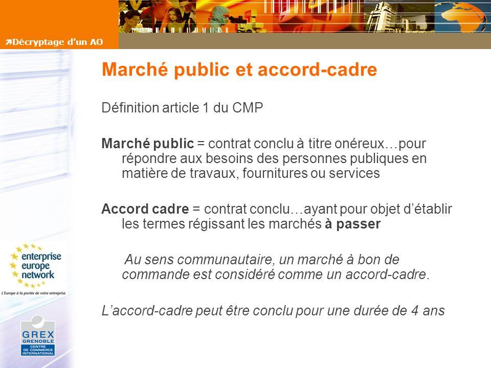 Marché public et accord-cadre Définition article 1 du CMP Marché public = contrat conclu à titre onéreux…pour répondre aux besoins des personnes publi