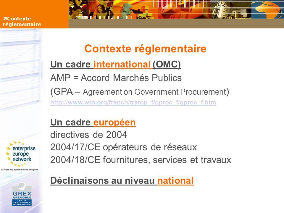 Seuils dapplication des directives >133 000 EtatFournitures et services (sauf services de R&D, hôtellerie, juridiques,...) >206 000 Collectivités localesFournitures et services >206 000 EtatServices de R&D, hôtellerie, juridiques,...