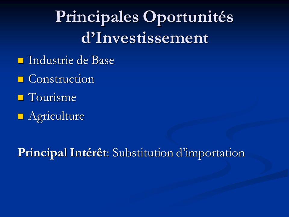 Principales Oportunités dInvestissement Industrie de Base Industrie de Base Construction Construction Tourisme Tourisme Agriculture Agriculture Princi