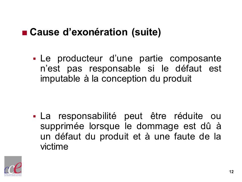 12 Cause dexonération (suite) Le producteur dune partie composante nest pas responsable si le défaut est imputable à la conception du produit La respo