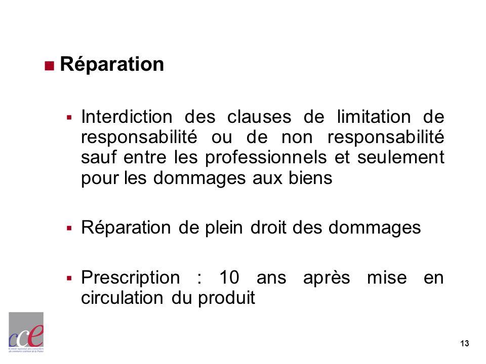 13 Réparation Interdiction des clauses de limitation de responsabilité ou de non responsabilité sauf entre les professionnels et seulement pour les do