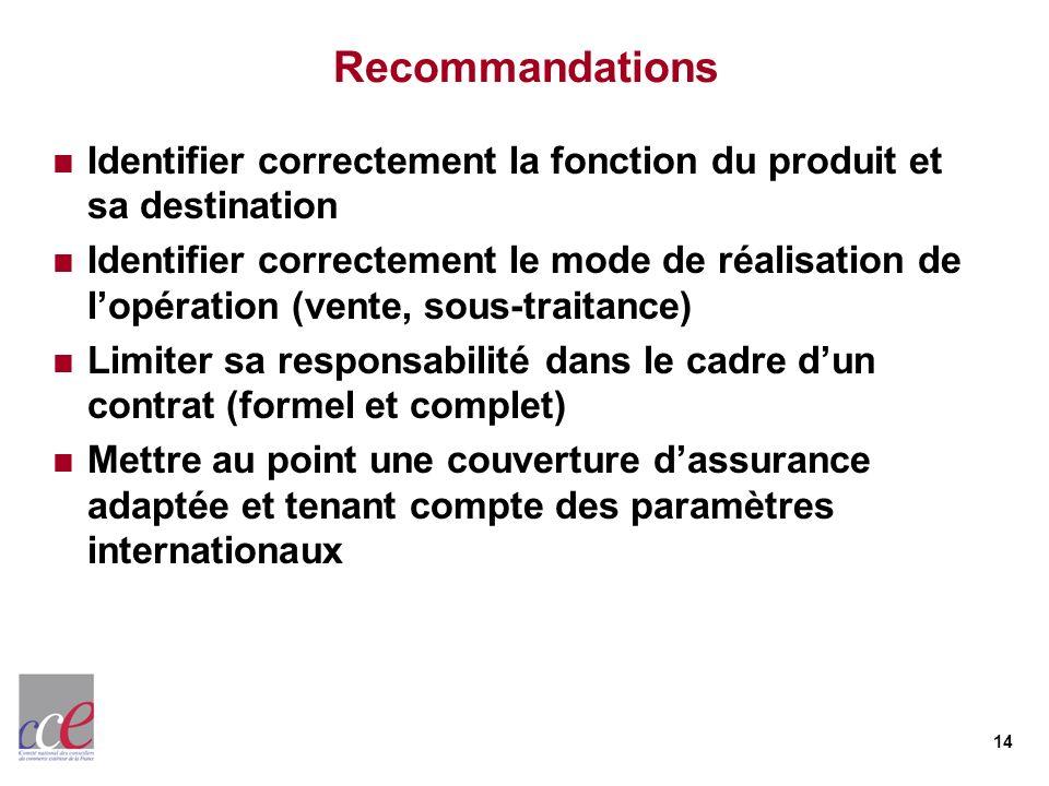 14 Recommandations Identifier correctement la fonction du produit et sa destination Identifier correctement le mode de réalisation de lopération (vent