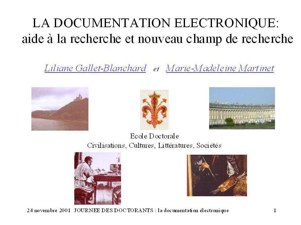 24 novembre 2001JOURNEE DES DOCTORANTS : la documentation électronique 1
