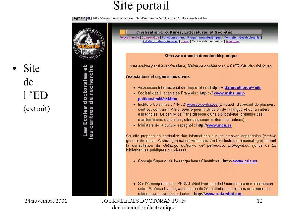 24 novembre 2001JOURNEE DES DOCTORANTS : la documentation électronique 12 Site portail Site de l ED (extrait)
