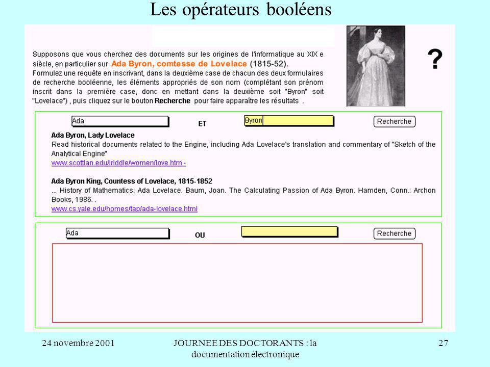 24 novembre 2001JOURNEE DES DOCTORANTS : la documentation électronique 27 Les opérateurs booléens
