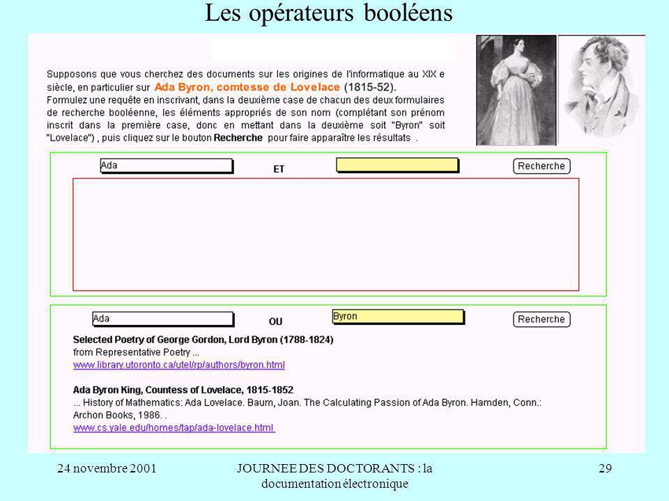 24 novembre 2001JOURNEE DES DOCTORANTS : la documentation électronique 29 Les opérateurs booléens