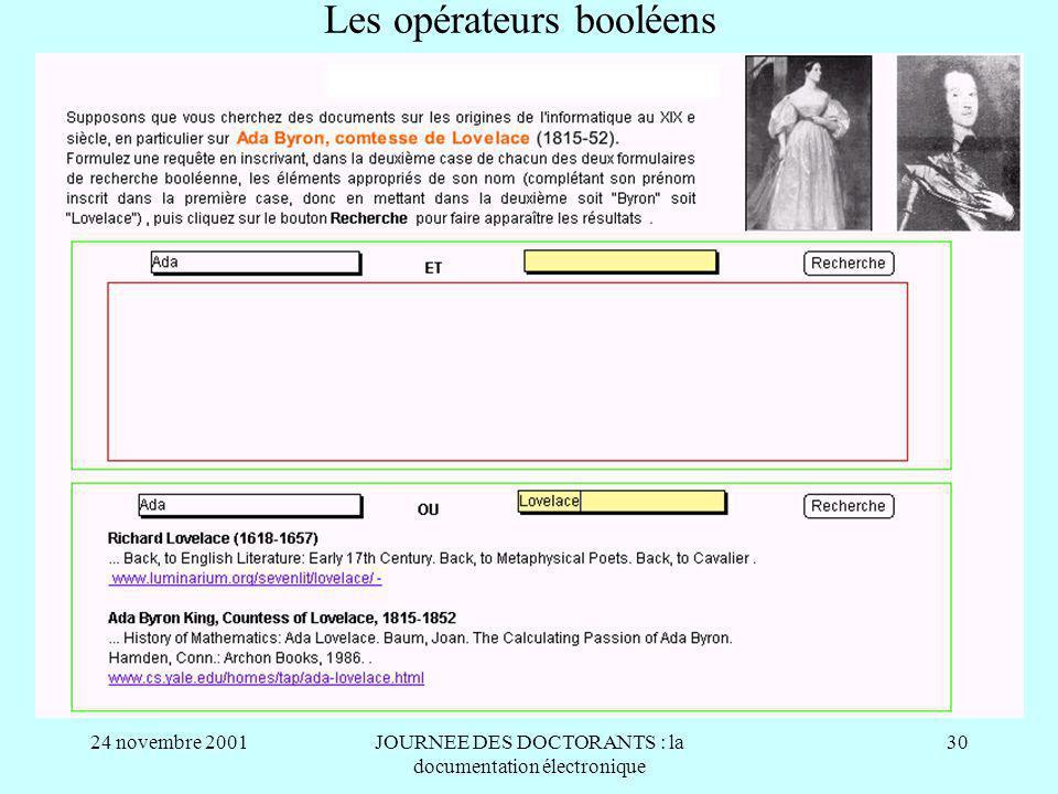 24 novembre 2001JOURNEE DES DOCTORANTS : la documentation électronique 30 Les opérateurs booléens