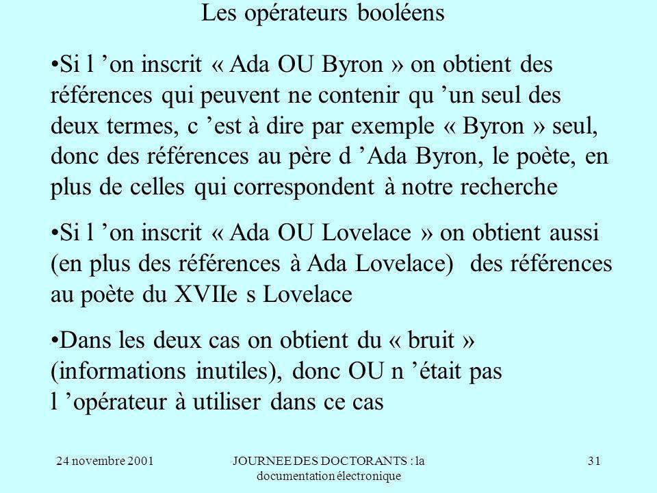 24 novembre 2001JOURNEE DES DOCTORANTS : la documentation électronique 31 Les opérateurs booléens Si l on inscrit « Ada OU Byron » on obtient des références qui peuvent ne contenir qu un seul des deux termes, c est à dire par exemple « Byron » seul, donc des références au père d Ada Byron, le poète, en plus de celles qui correspondent à notre recherche Si l on inscrit « Ada OU Lovelace » on obtient aussi (en plus des références à Ada Lovelace) des références au poète du XVIIe s Lovelace Dans les deux cas on obtient du « bruit » (informations inutiles), donc OU n était pas l opérateur à utiliser dans ce cas