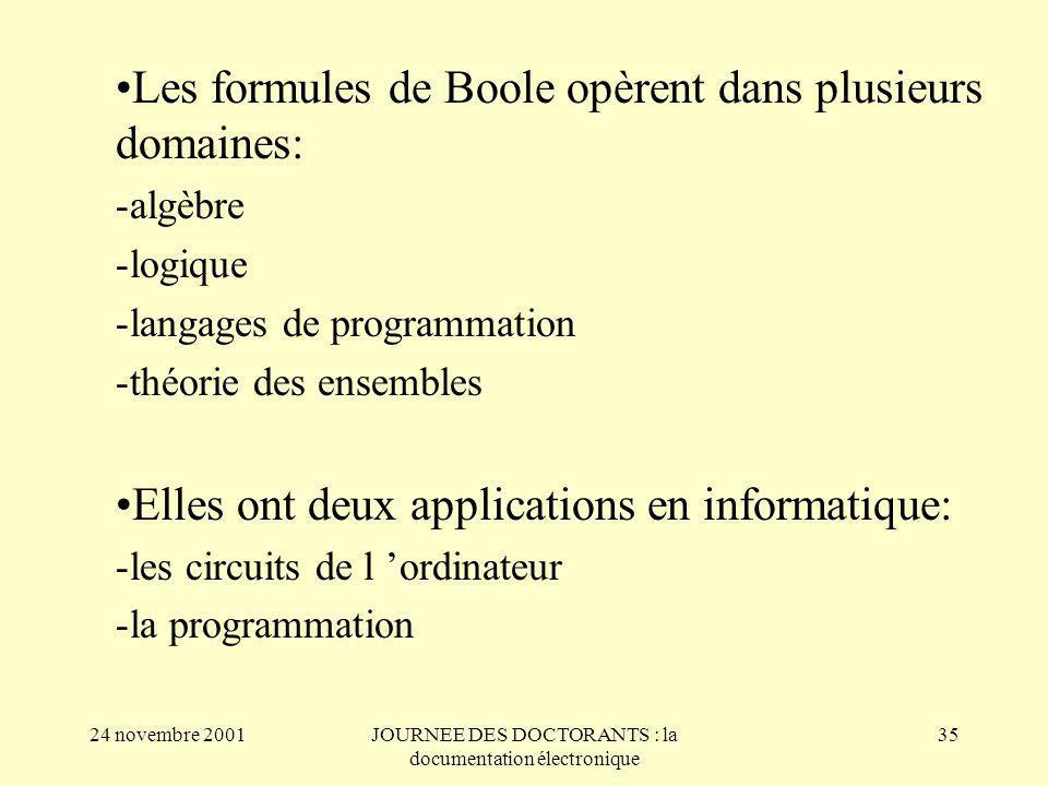 24 novembre 2001JOURNEE DES DOCTORANTS : la documentation électronique 35 Les formules de Boole opèrent dans plusieurs domaines: -algèbre -logique -langages de programmation -théorie des ensembles Elles ont deux applications en informatique: -les circuits de l ordinateur -la programmation