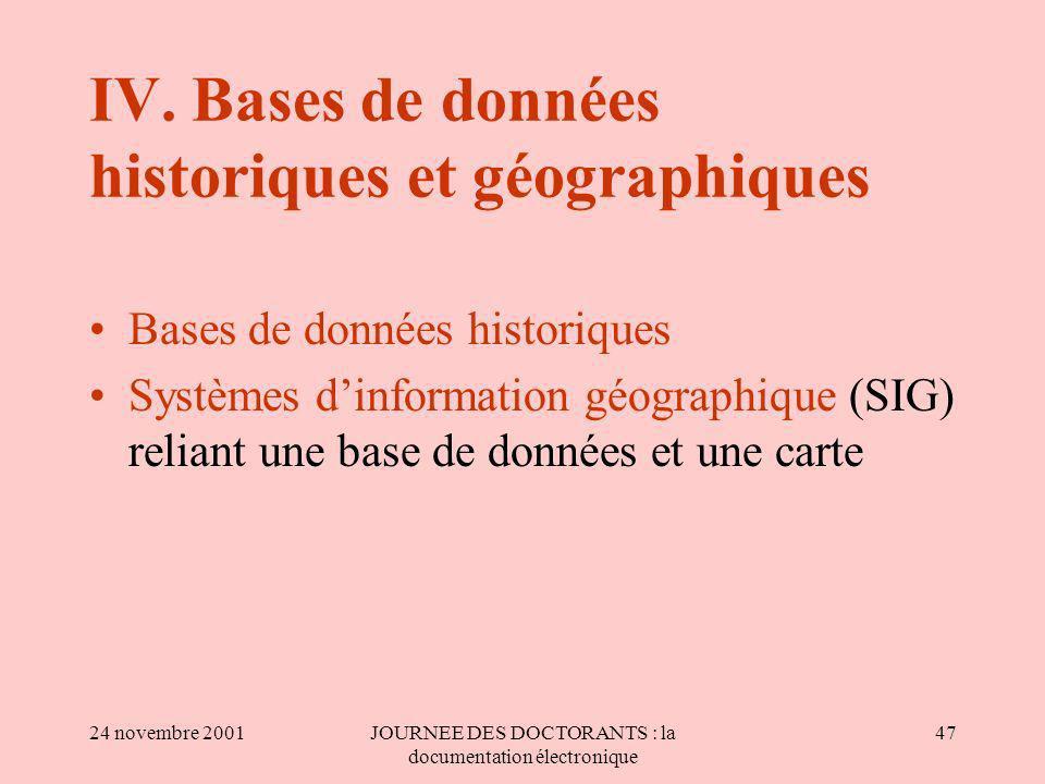24 novembre 2001JOURNEE DES DOCTORANTS : la documentation électronique 47 IV.