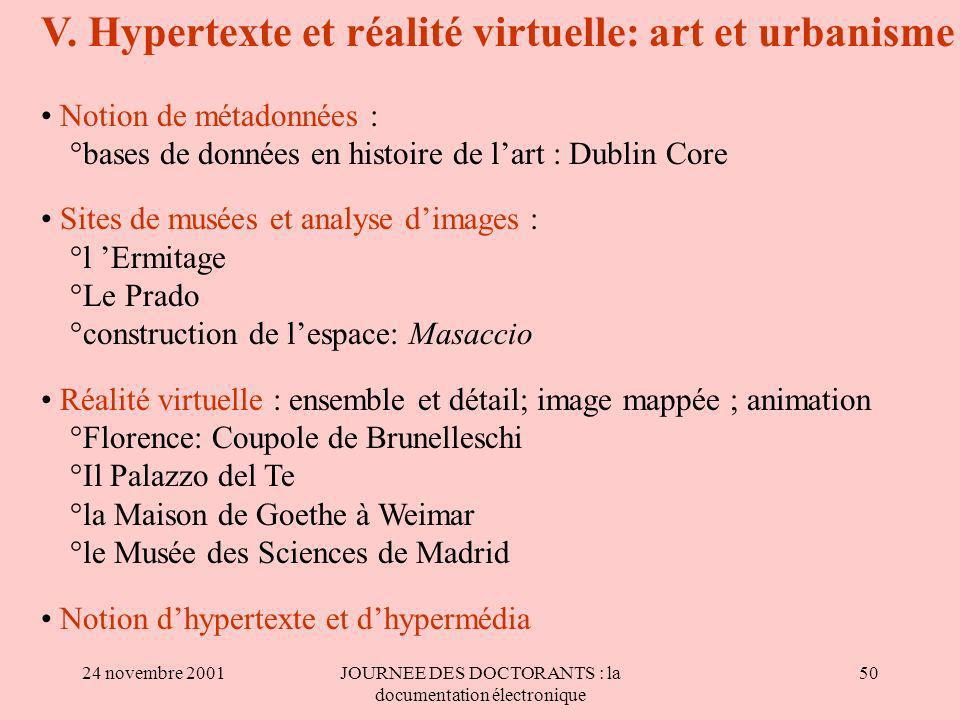 24 novembre 2001JOURNEE DES DOCTORANTS : la documentation électronique 50 V.