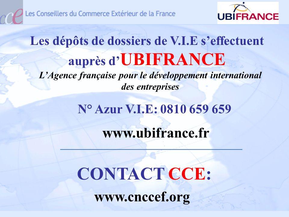 Les dépôts de dossiers de V.I.E seffectuent auprès d UBIFRANCE www.ubifrance.fr CONTACT CCE: www.cnccef.org N° Azur V.I.E: 0810 659 659 LAgence frança
