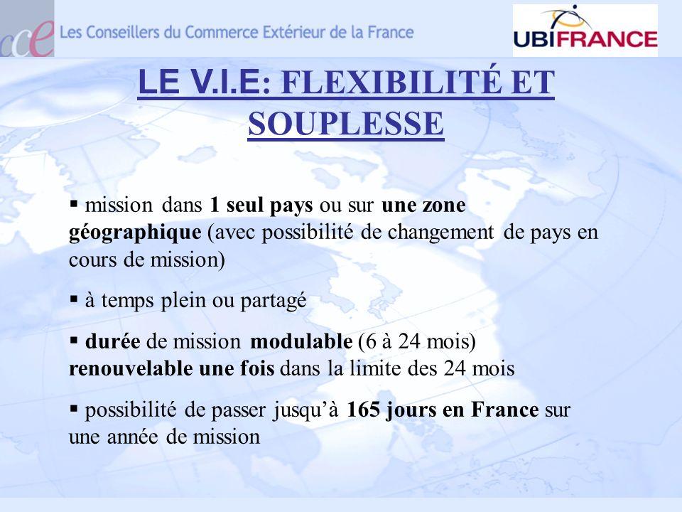LE V.I.E : FLEXIBILITÉ ET SOUPLESSE mission dans 1 seul pays ou sur une zone géographique (avec possibilité de changement de pays en cours de mission)
