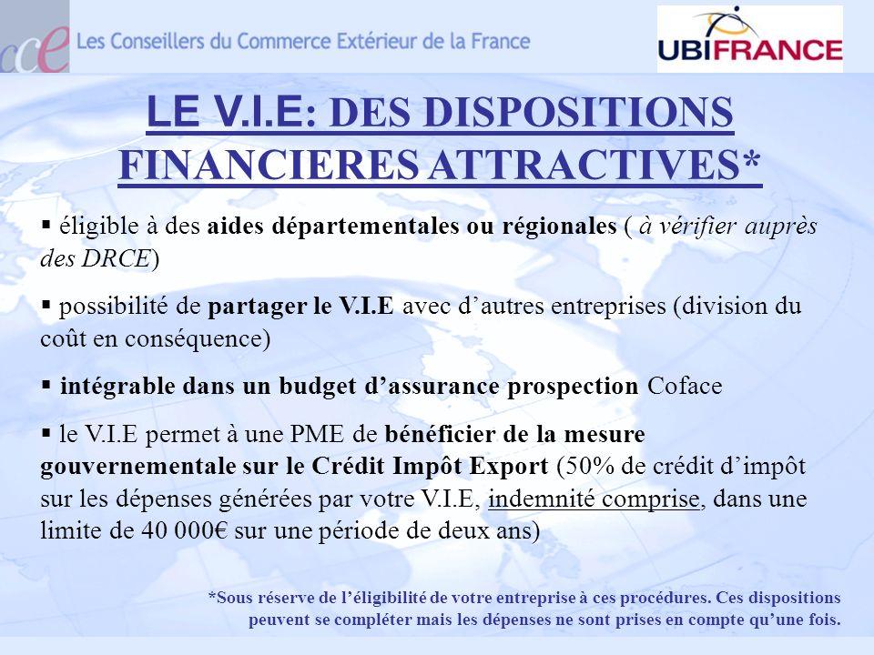 LE V.I.E : DES DISPOSITIONS FINANCIERES ATTRACTIVES* éligible à des aides départementales ou régionales ( à vérifier auprès des DRCE) possibilité de p