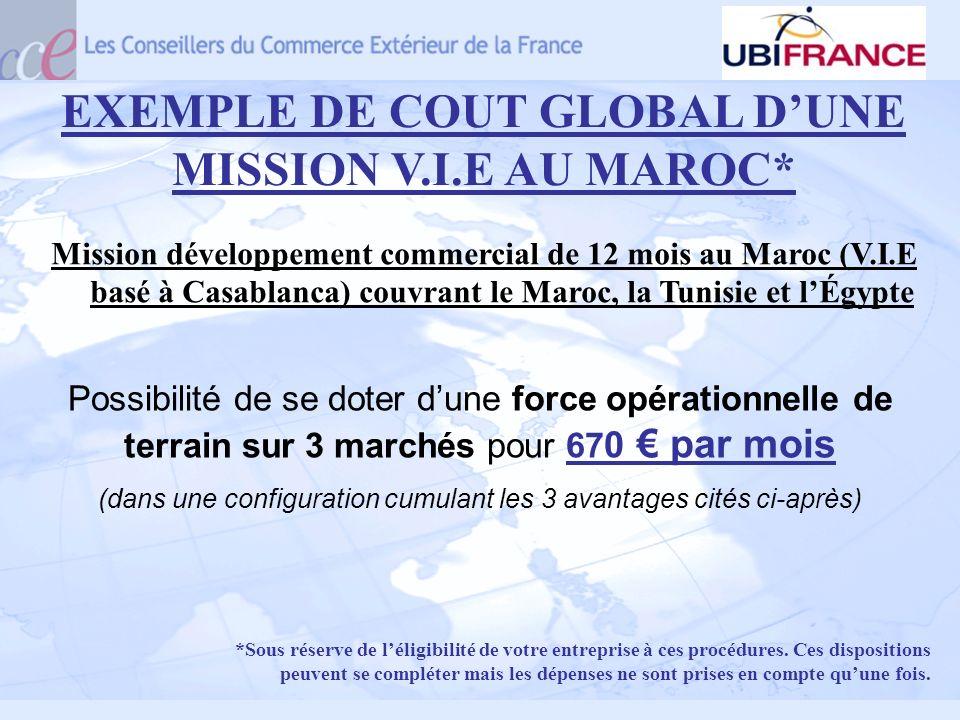 EXEMPLE DE COUT GLOBAL DUNE MISSION V.I.E AU MAROC* Possibilité de se doter dune force opérationnelle de terrain sur 3 marchés pour 67 0 par mois (dan