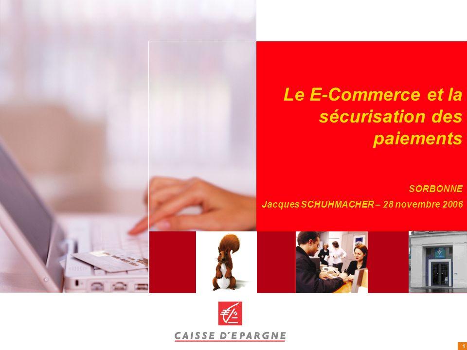 1 Le E-Commerce et la sécurisation des paiements SORBONNE Jacques SCHUHMACHER – 28 novembre 2006