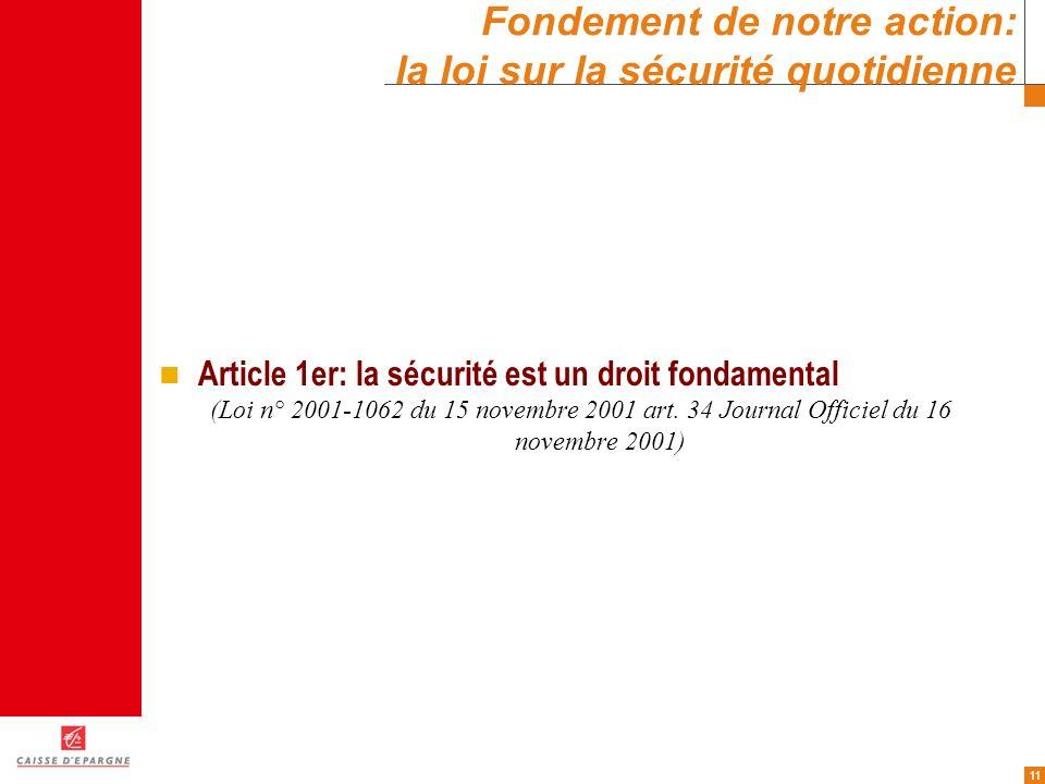 11 Fondement de notre action: la loi sur la sécurité quotidienne Article 1er: la sécurité est un droit fondamental (Loi n° 2001-1062 du 15 novembre 20