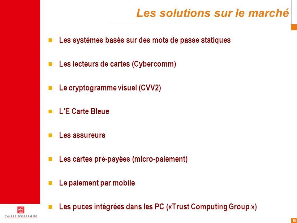 16 Les solutions sur le marché Les systèmes basés sur des mots de passe statiques Les lecteurs de cartes (Cybercomm) Le cryptogramme visuel (CVV2) LE