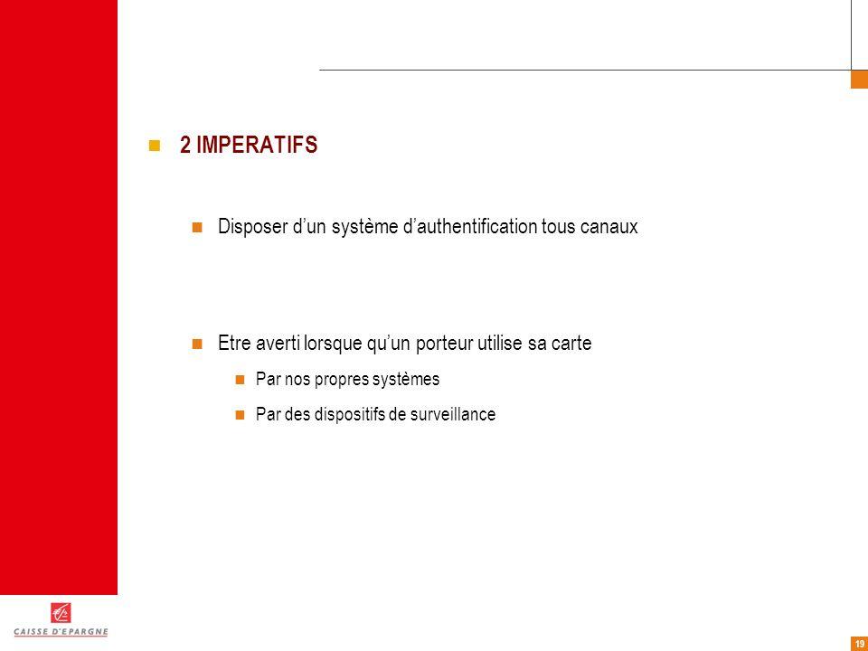19 2 IMPERATIFS Disposer dun système dauthentification tous canaux Etre averti lorsque quun porteur utilise sa carte Par nos propres systèmes Par des