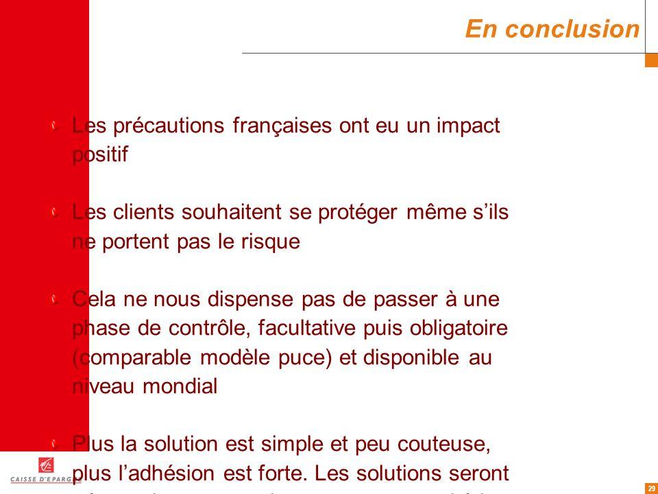 29 En conclusion Les précautions françaises ont eu un impact positif Les clients souhaitent se protéger même sils ne portent pas le risque Cela ne nou