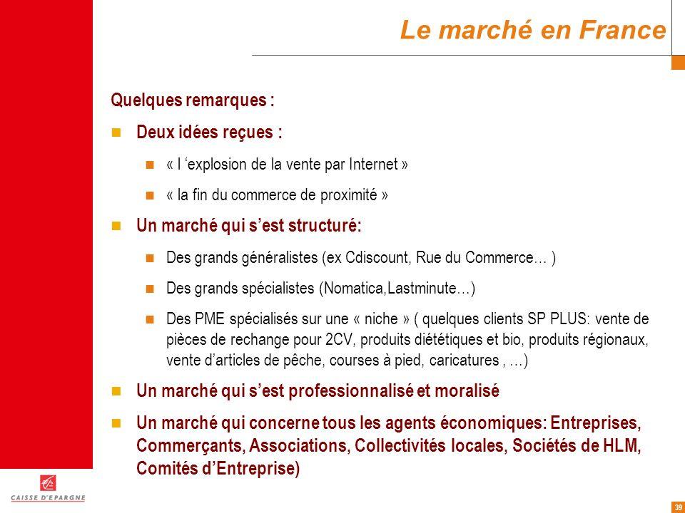 39 Le marché en France Quelques remarques : Deux idées reçues : « l explosion de la vente par Internet » « la fin du commerce de proximité » Un marché