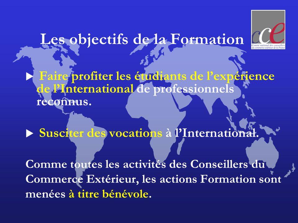 Les objectifs de la Formation Faire profiter les étudiants de lexpérience de lInternational de professionnels reconnus.