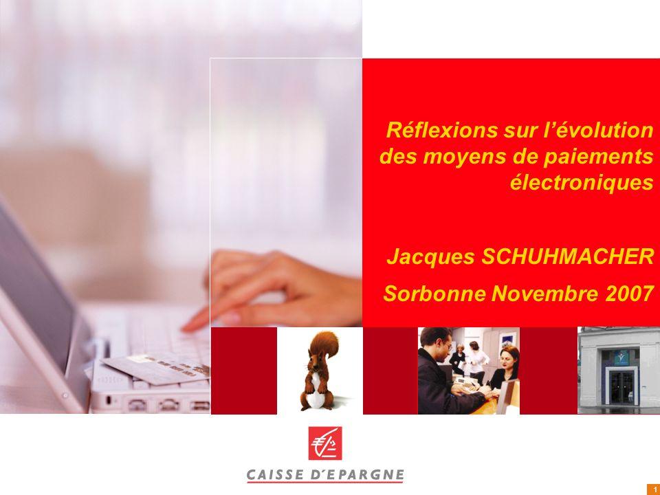 1 Réflexions sur lévolution des moyens de paiements électroniques Jacques SCHUHMACHER Sorbonne Novembre 2007