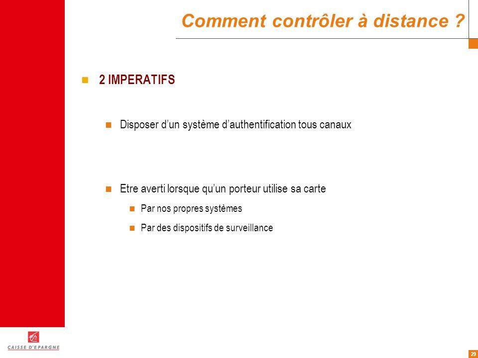 29 Comment contrôler à distance ? 2 IMPERATIFS Disposer dun système dauthentification tous canaux Etre averti lorsque quun porteur utilise sa carte Pa
