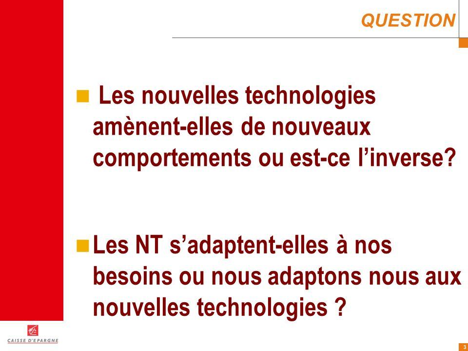 3 QUESTION Les nouvelles technologies amènent-elles de nouveaux comportements ou est-ce linverse? Les NT sadaptent-elles à nos besoins ou nous adapton