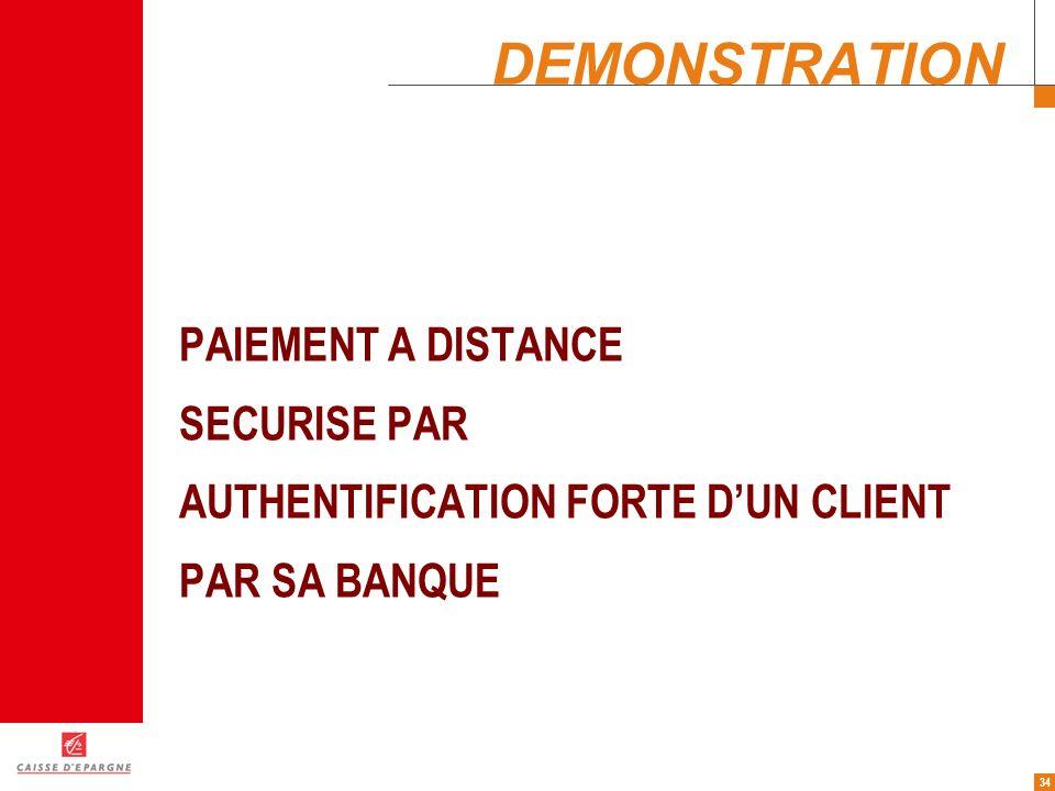34 DEMONSTRATION PAIEMENT A DISTANCE SECURISE PAR AUTHENTIFICATION FORTE DUN CLIENT PAR SA BANQUE