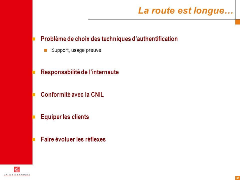 37 La route est longue… Problème de choix des techniques dauthentification Support, usage preuve Responsabilité de linternaute Conformité avec la CNIL