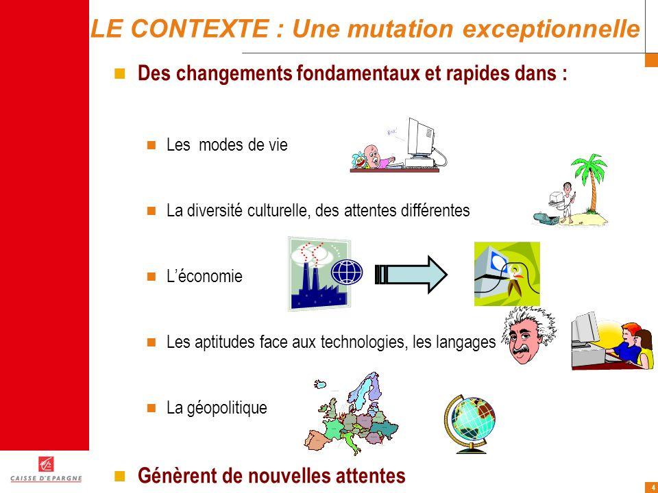 4 LE CONTEXTE : Une mutation exceptionnelle Des changements fondamentaux et rapides dans : Les modes de vie La diversité culturelle, des attentes diff