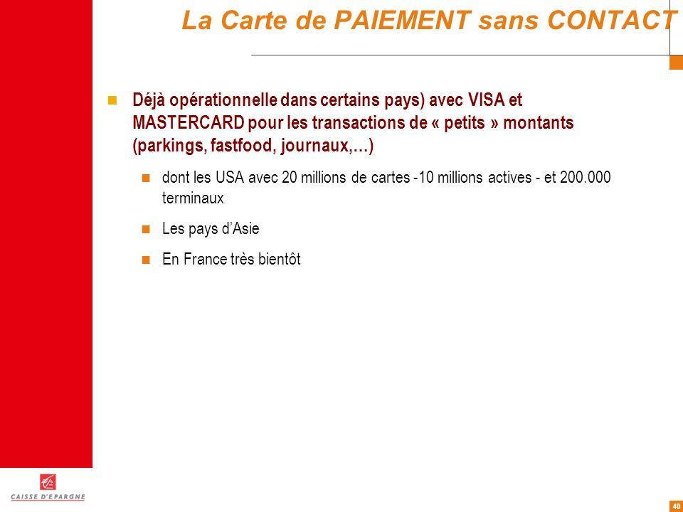 40 La Carte de PAIEMENT sans CONTACT Déjà opérationnelle dans certains pays) avec VISA et MASTERCARD pour les transactions de « petits » montants (par