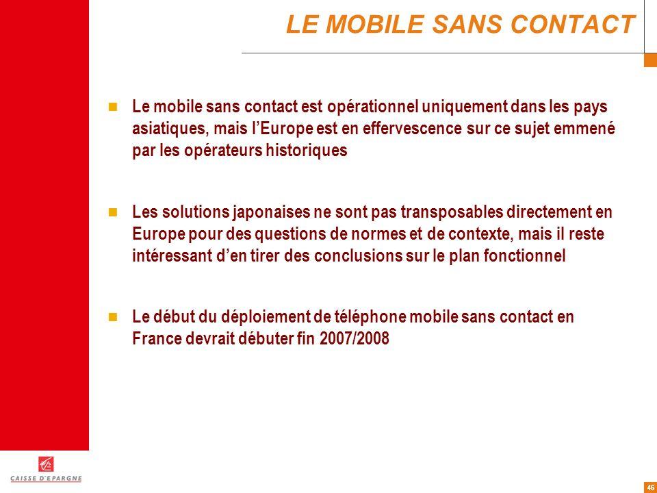 46 LE MOBILE SANS CONTACT Le mobile sans contact est opérationnel uniquement dans les pays asiatiques, mais lEurope est en effervescence sur ce sujet