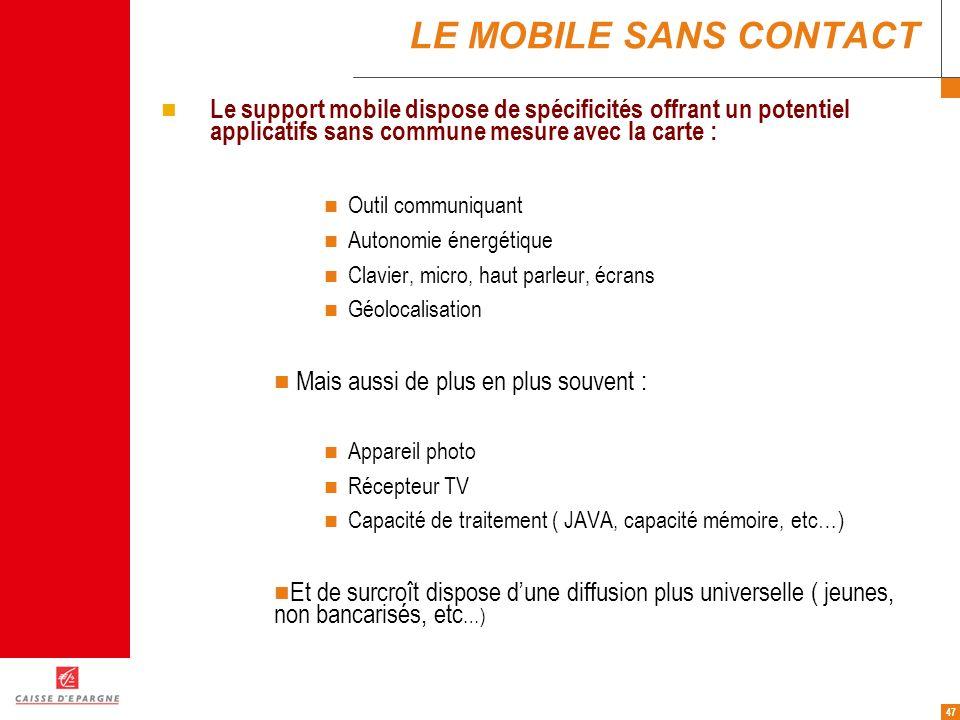47 LE MOBILE SANS CONTACT Le support mobile dispose de spécificités offrant un potentiel applicatifs sans commune mesure avec la carte : Outil communi