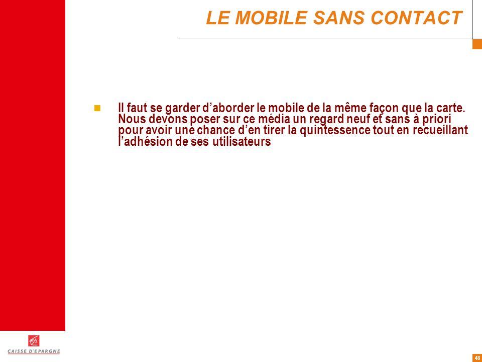 48 LE MOBILE SANS CONTACT Il faut se garder daborder le mobile de la même façon que la carte. Nous devons poser sur ce média un regard neuf et sans à