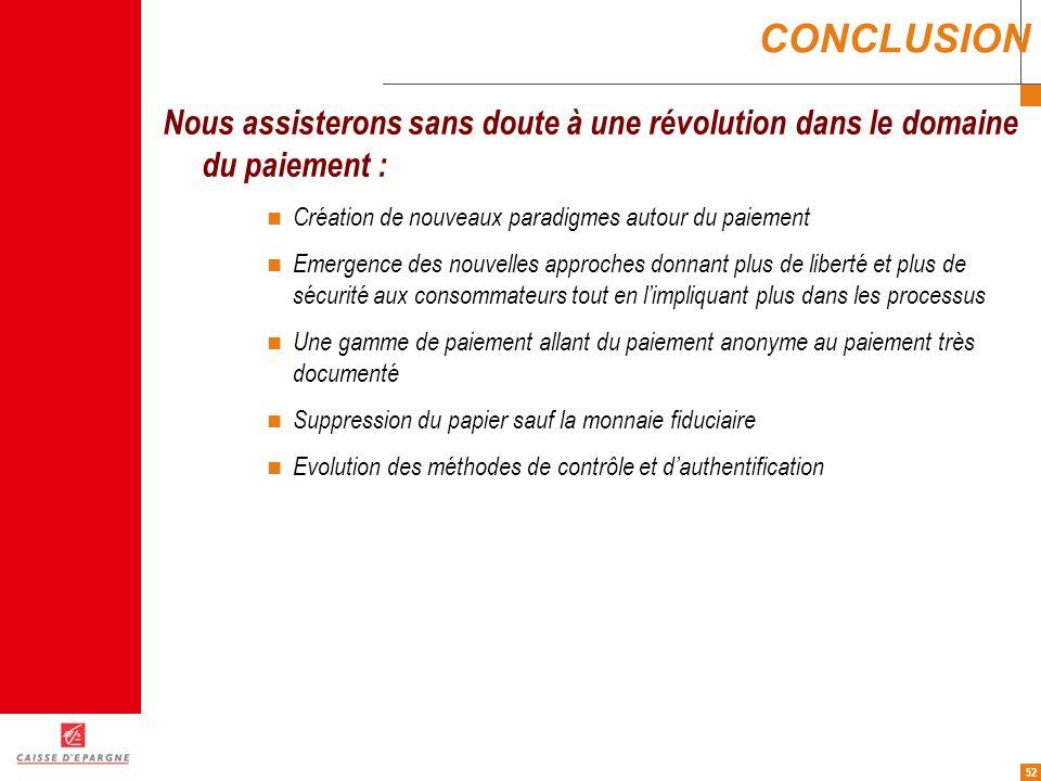 52 CONCLUSION Nous assisterons sans doute à une révolution dans le domaine du paiement : Création de nouveaux paradigmes autour du paiement Emergence